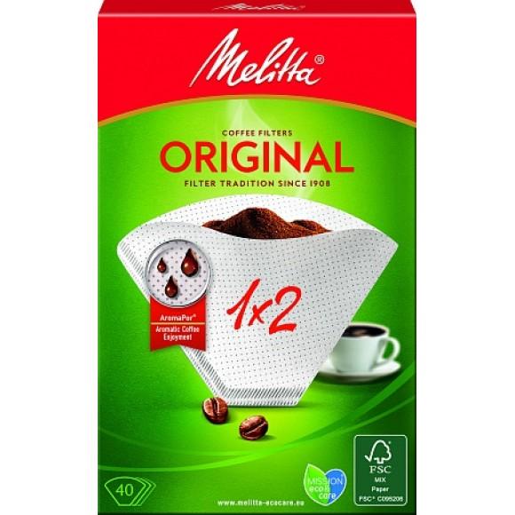Оригинальные бумажные фильтры Melitta Original, 1х2, 40шт, белые