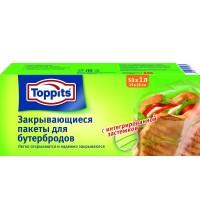 Пакеты Toppits для бутербродов, 50шт х 1л,с клейкой полосой для закрывания купить в интернет-магазине с доставкой