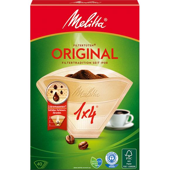 Оригинальные бумажные фильтры Melitta Original, 1х4, 40шт, коричневые