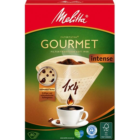 Оригинальные бумажные фильтры Melitta Gourmet Intense, 1х4, 80шт, коричневые