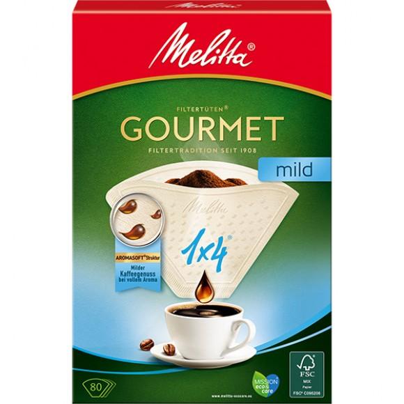 Оригинальные бумажные фильтры Melitta Gourmet Mild, 1х4, 80шт, белые